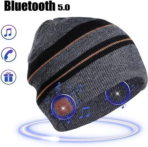 Bluetooth Beanie Music Hat Gifts for Men Women Stripe