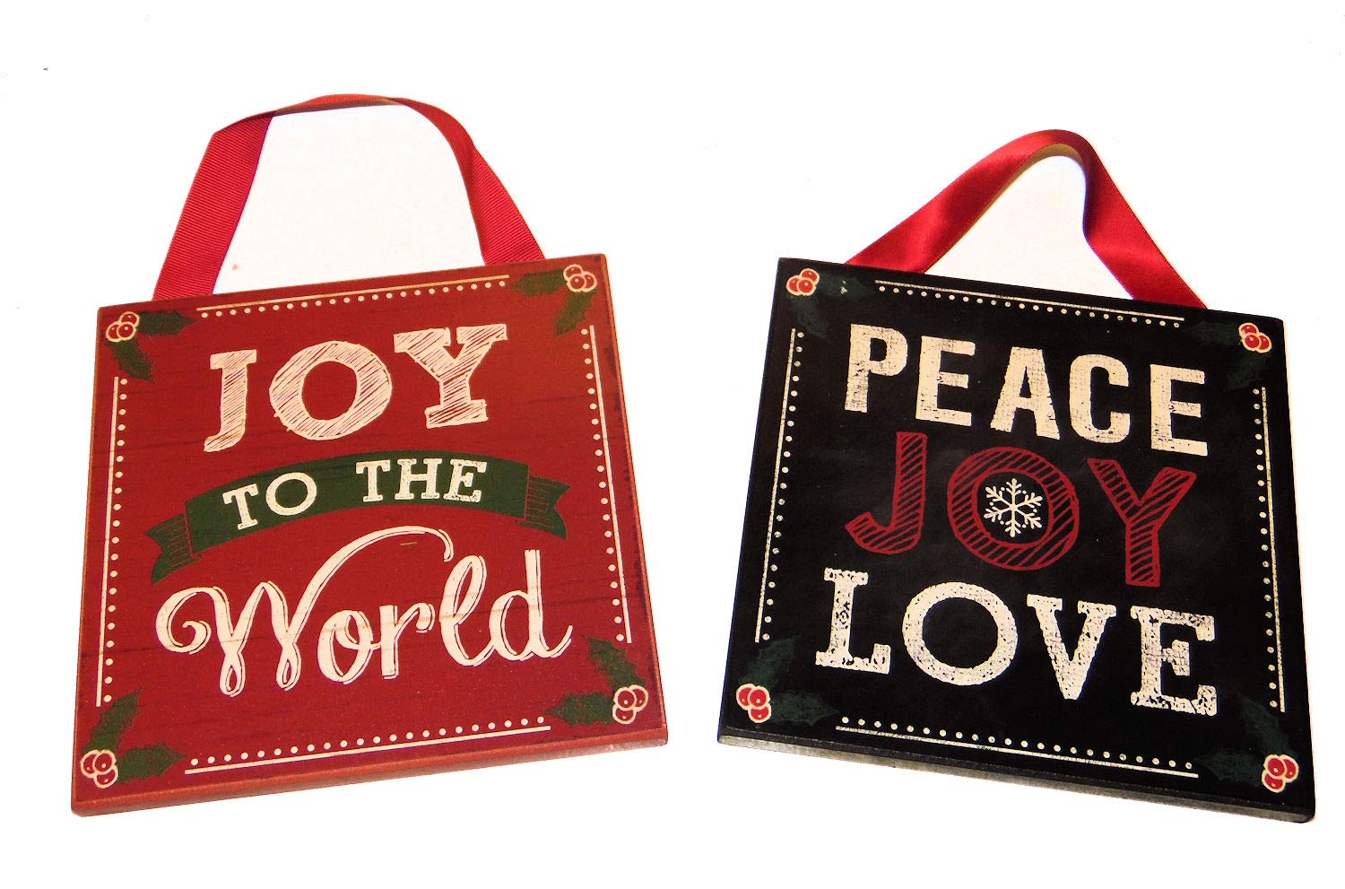 Joy Blue Skies Plus Christmas Holiday Wood Wall Door Plaques Decoration Peace Set of 2 Love