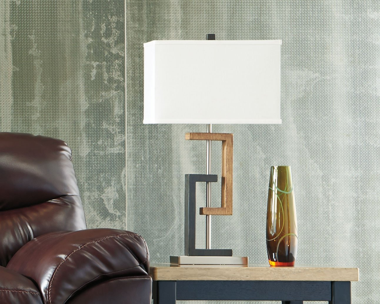 Ashley Furniture Signature Design - Syler Faux Wood Table Lamp - Contemporary Rectangular Shades - Set of 2 - Brushed Silver by Signature Design by Ashley (Image #2)
