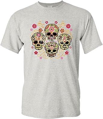 4 Cute Sugar Skulls T-Shirt Calaveras Dia de los Muertos Mexico Mens Tee Shirt