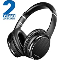 Active Noise Cancelling Headphones with Microphone Wireless Over Ear Headphones Hi-Fi Stereo Protein Leather Earpads Foldable Earphones with Airplane Adapter Carry Case for Air Travel,Phones, PC, TV