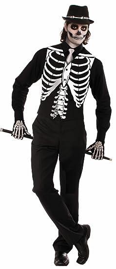 ee3fec0bcfb4 Amazon.com: Forum Novelties Men's Skeleton Costume Vest, Black, One ...
