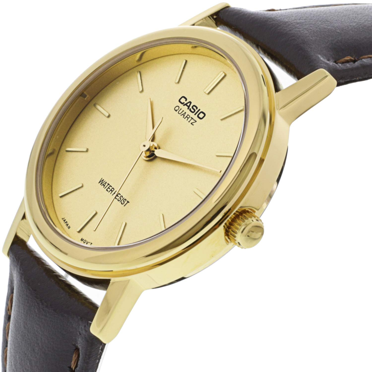 Casio Mens Core Mtp1095q 9a Brown Leather Quartz Watch With Gold Ltp 1095e 7b Womenamp039s Dial Watches