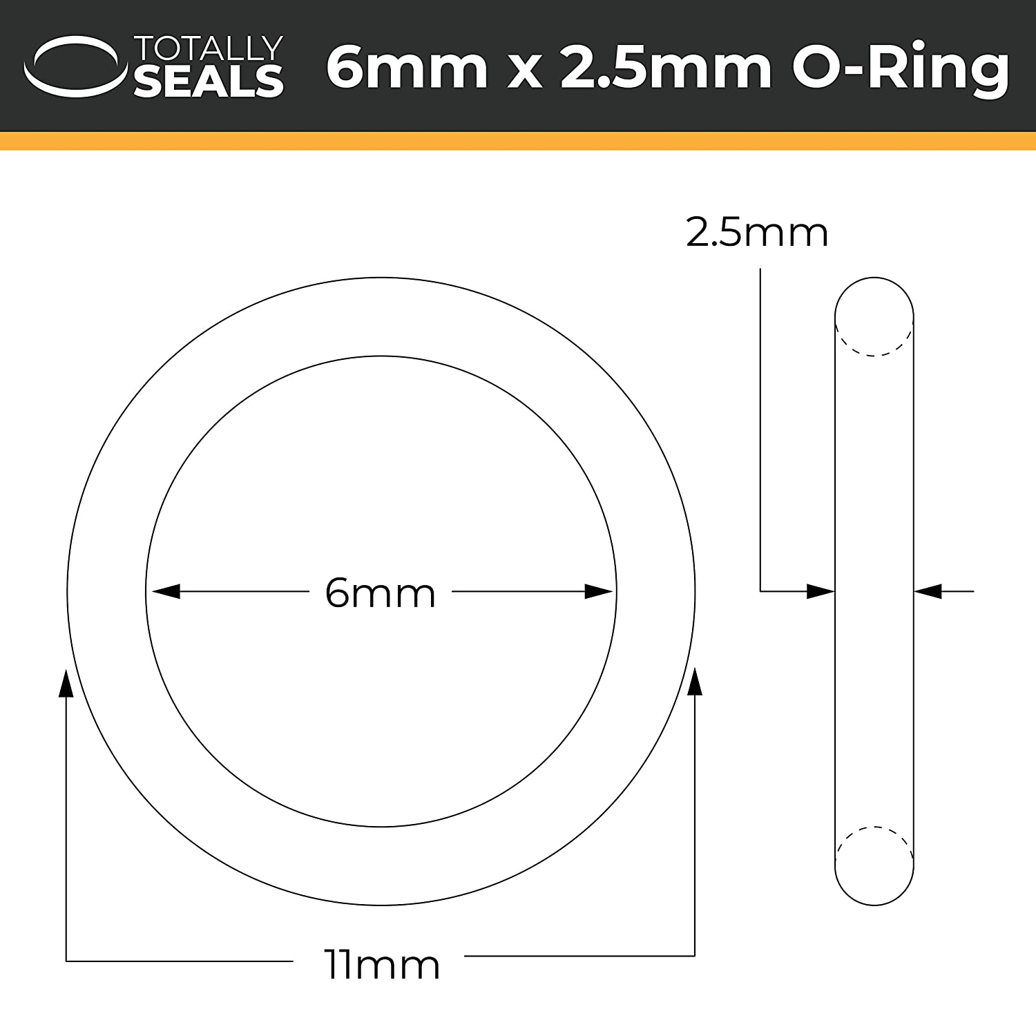 Nitrile Rubber O-Rings 70A Shore Hardness 11mm OD 6mm x 2.5mm Pack of 20