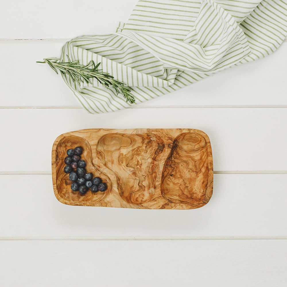 Naturally Med Olive Wood Nibbles Serving Dish - 3 Sections