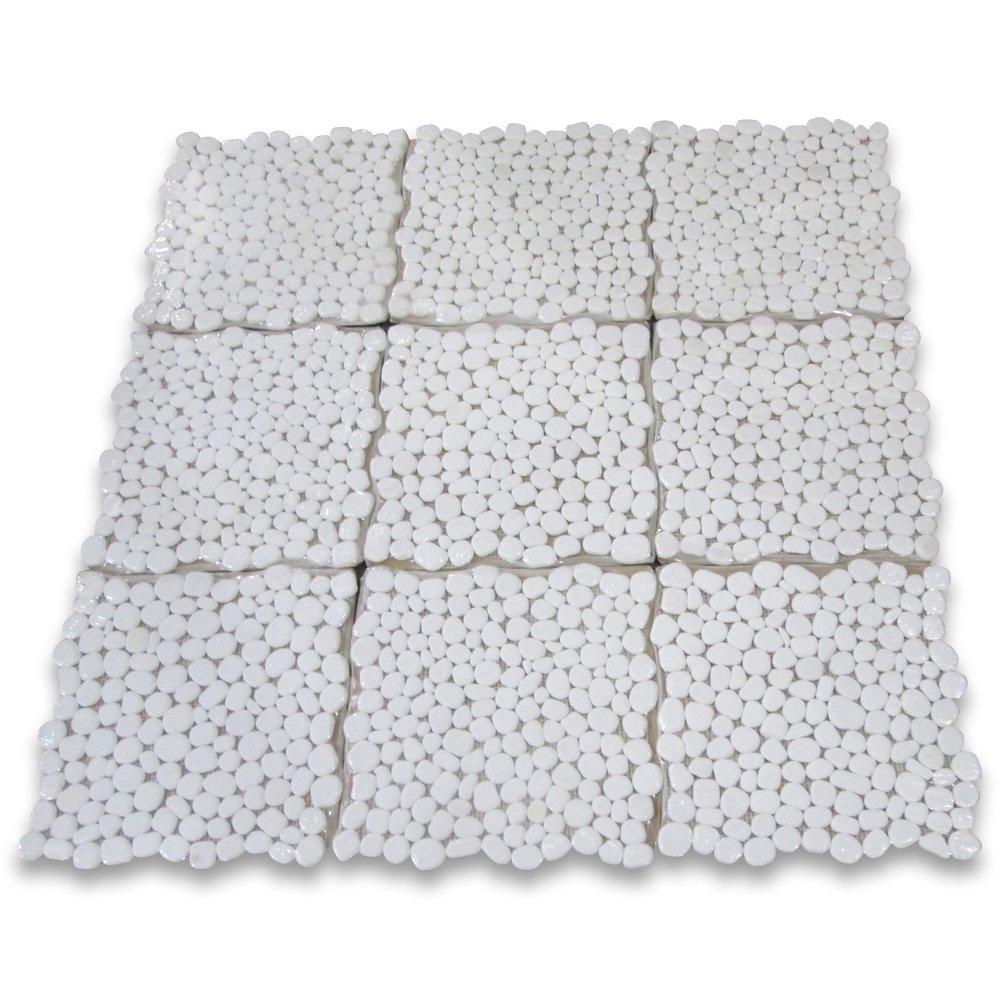 Thassos White Greek Marble River Rocks Pebble Stone Mosaic Tile Tumbled