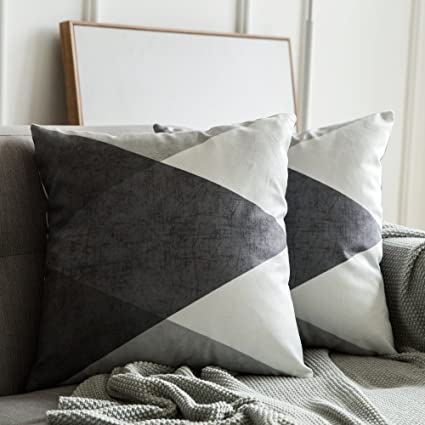 MIULEE Fundas de cojín para sofá Gamuza Sintética Almohada Caso de Diseño Geométrico Decorativas Fundas Cojines Gris&Blanco 45x45 cm/18X18 2 Piezas