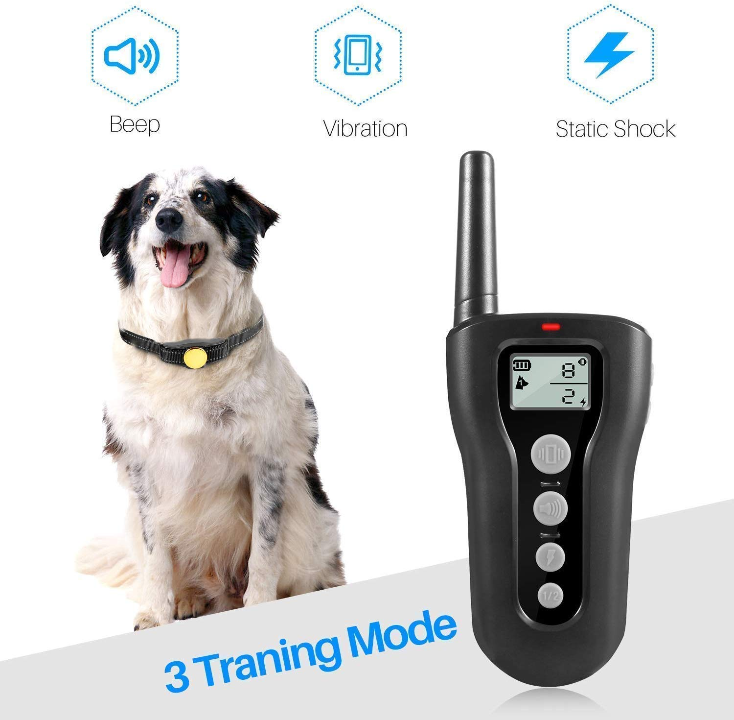 PATPET Dog Shock Collar with Remote – 1000ft Range Shock Collar for Dogs IPX7 Waterproof No Harm Dog Training Collar Fast Training Effect for Small Medium Large Dogs
