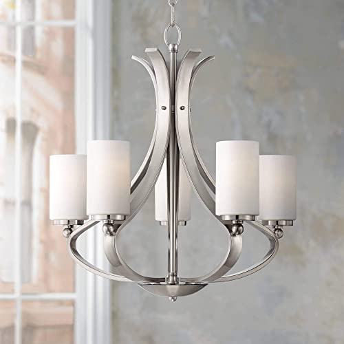 Kadence Brushed Nickel Chandelier 23 1 4 Wide Modern Opal Frosted Glass 5-Light Fixture for Dining Room House Foyer Kitchen Island Entryway Bedroom Living Room – Possini Euro Design