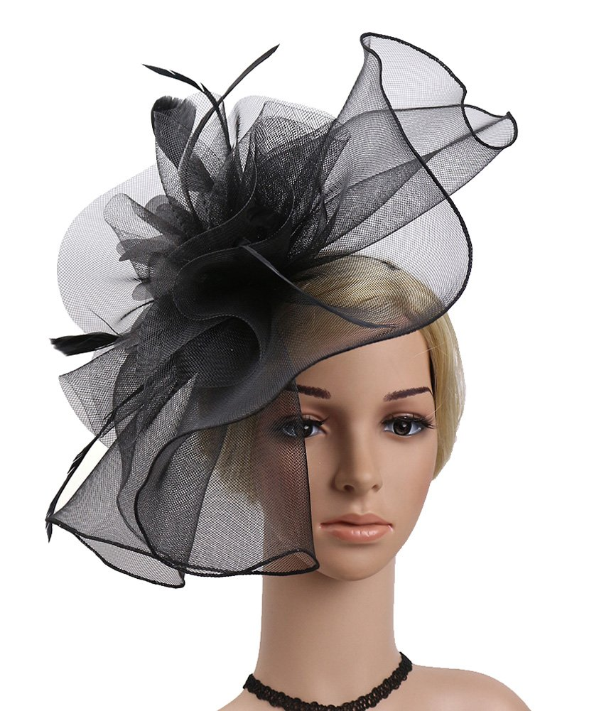 Urban CoCo Women's Elegant Flower Feather and Veil Fascinator Cocktail Party Hair Clip Hat (# 5 Black)