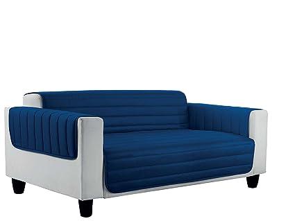 Italian Bed Linen Elegant Funda Protectora para Sofá, Microfibra, Azul Oscuro/Gris Claro, 4 plazas