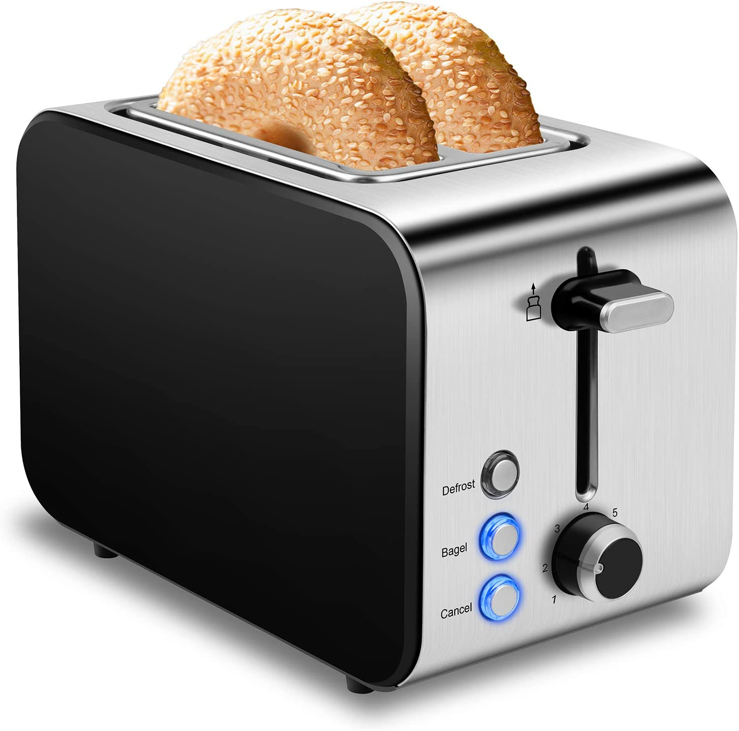 Toaster 2 Slice Best Rated Prime Toasters 1.5in Wide Slot Toaster 2 Slice Stainless Steel Toaster 7 Shade Settings Toasters Defrost/Begal/Cancel with Removable Crumb Tray for Bread, Waffles, Small Retro Evenly Quickly Toaster