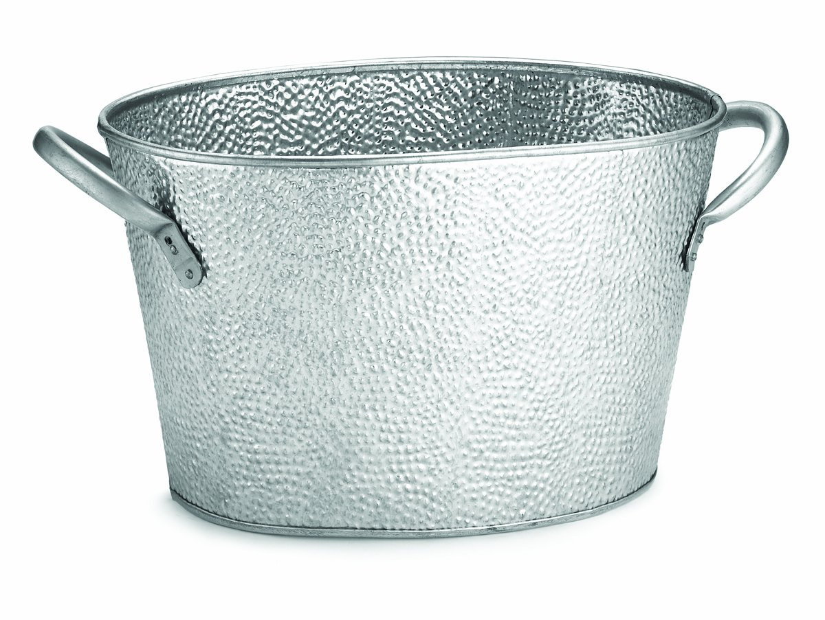 TableCraft GT159 Galvanized Collection Oval Beverage Tub, 15 x 8.6 x 7.4-Inch
