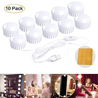 Luces de Espejo de Tocador LED Kit 10 Bombillas Regulables Luces Para Maquillaje Hollywood Espejo de