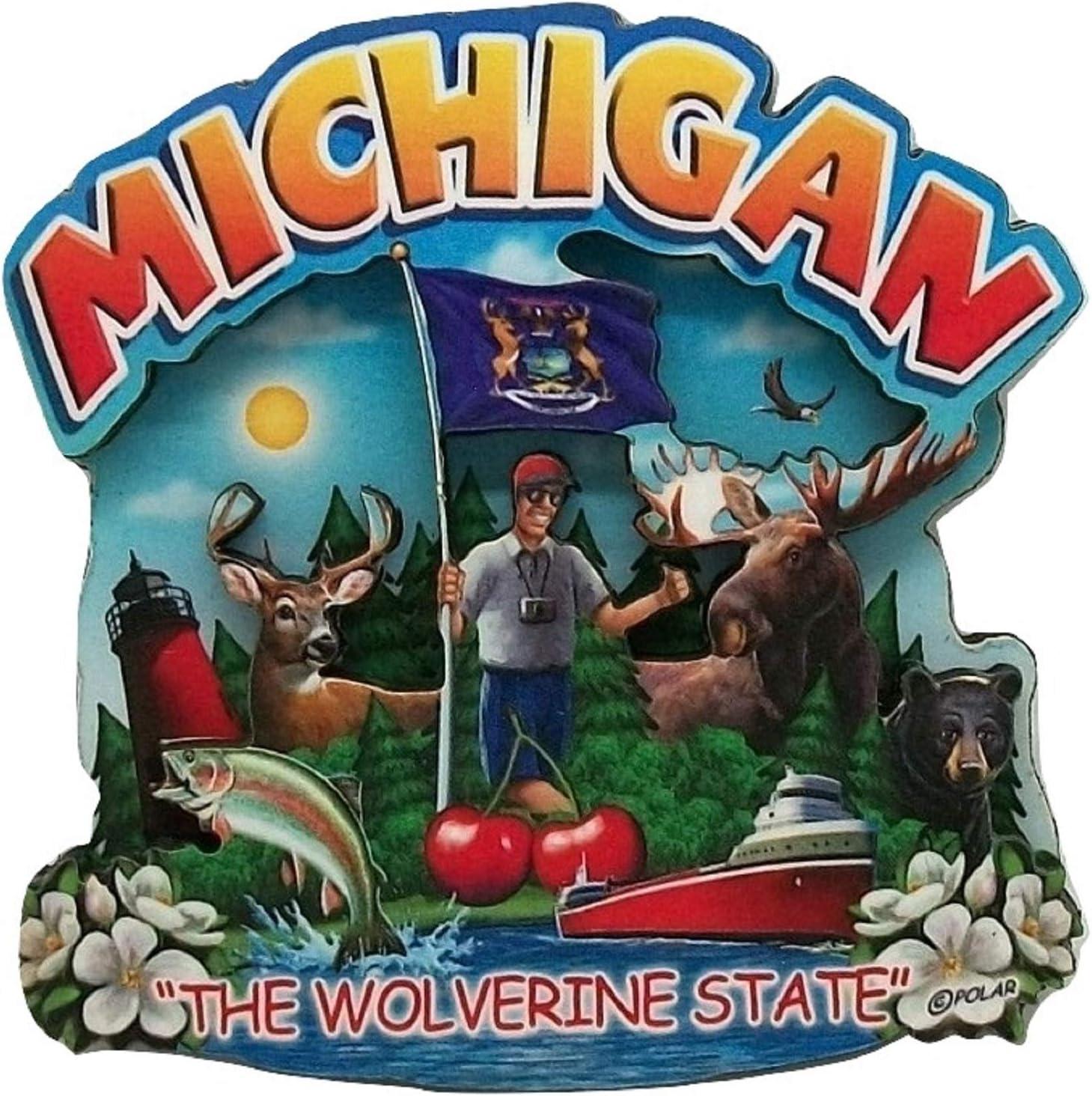 Michigan State Montage Wood Fridge Magnet 2
