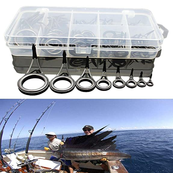 Stablebusi 75pcs Durable Portable Stainless Steel Fishing Rod Guide Tip Repair Kit Eye Ceramic Ring Tackle Box Accessories Amazon.com