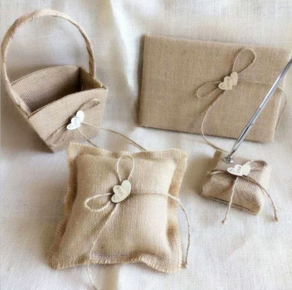 Dollbling Rustic Vintage Retro Wood Love Heart Burlap Wedding Flower Girl Basket + Ring Pillow +Guest Book + Pen Holder Set by Dollbling (Image #1)