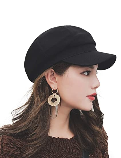 Legou Women s Wool Blend Collection Newsboy Hat One Size Black at Amazon  Women s Clothing store  4dce4a49391
