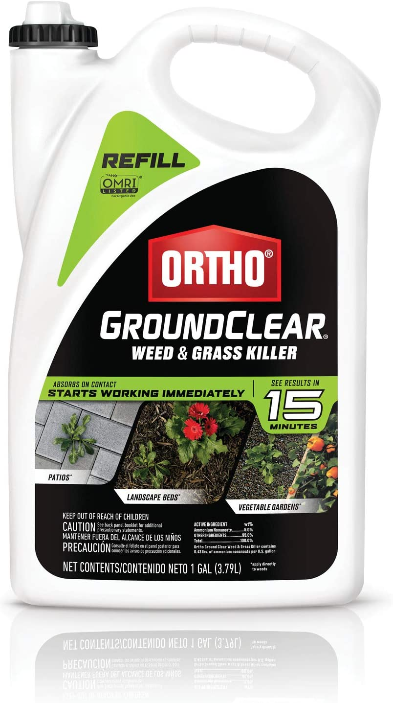 Ortho GroundClear Weed & Grass Killer Refill - Grass Killer & Weed Control, Kills Broadleaf Weeds, Use in Landscape Beds, Around Vegetable Gardens, on Patios & More, See Results in 15 Minutes, 1 gal.