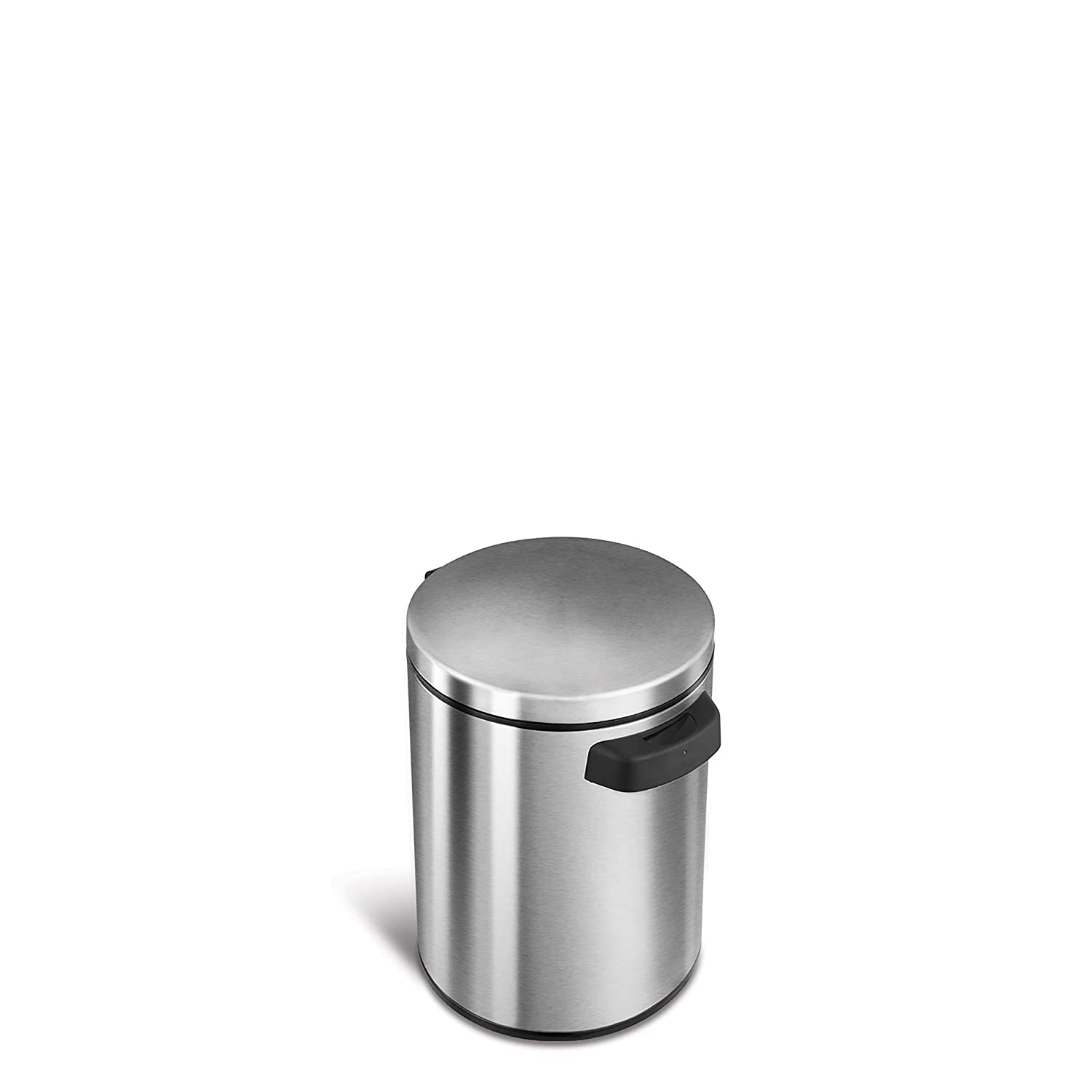 NINESTARS DZT-5-1S Automatic Touchless Infrared Motion Sensor Trash Can, 1.2 Gal 5L, Stainless Steel Base (Round, Stainless Steel Lid) Nine Stars
