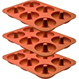 Professional Premium Silicone Donut Pan 3-Pack – Non Stick Doughnut Pans for Baking with 6 Slots – Reusable Bagel Mold…