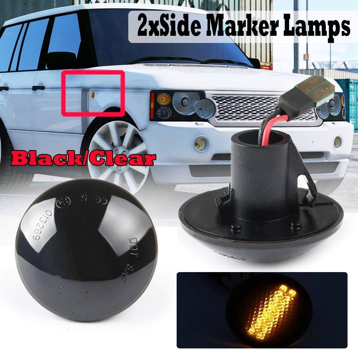 SODIAL Car Dynamic LED Ripetitore Laterale Indicatore Luminoso Indicatore Laterale Scorrevole Lampada Spia per Land Range Rover L322 2002-2012 Nero
