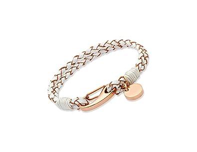 Unique & Co. Ladies 19cm Black Leather Bracelet with Rose Gold Plated Steel Shrimp Clasp and Disc Charm paS7q