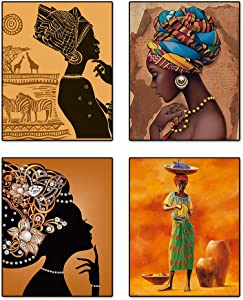Ethnic Ancient Tribal Retro Style Wall Art Painting Prints Aesthetic African American Themed Black Woman Wall Artworks for Home Decor Girls Bedroom Bathroom Canvas Wall Poster, Set of 4 (8