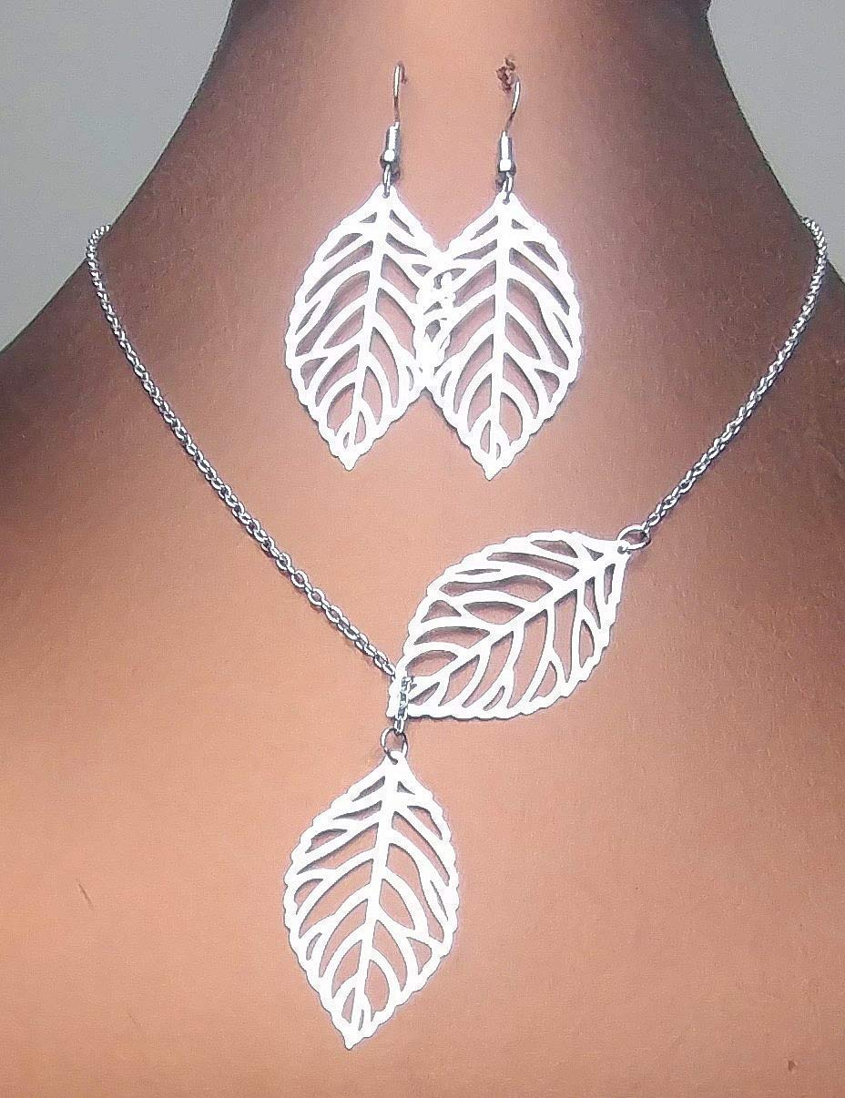 Sideways Vertical Silver Plated Tree Leaf Charm Infinity Pendant Necklace and Earrings Plus Bonus Gift For Anniversary - Mothers Day - Gift for Mom (Handmade in the USA)