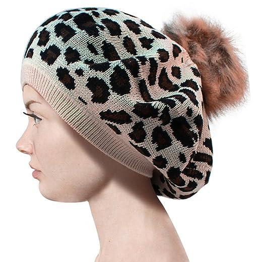 b30dab9c030 Pop Fashionwear Leopard Print Faux Fur Pom Pom Beret Hat 159HBF (Beige) at  Amazon Women s Clothing store