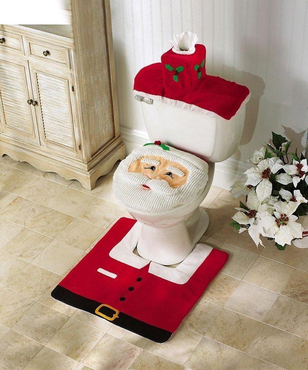 SLZZ Happy Santa 3pcs Toilet Seat Cover& Tank Cover & Skid-Proof Rug Set - Bathroom Christmas Decorations
