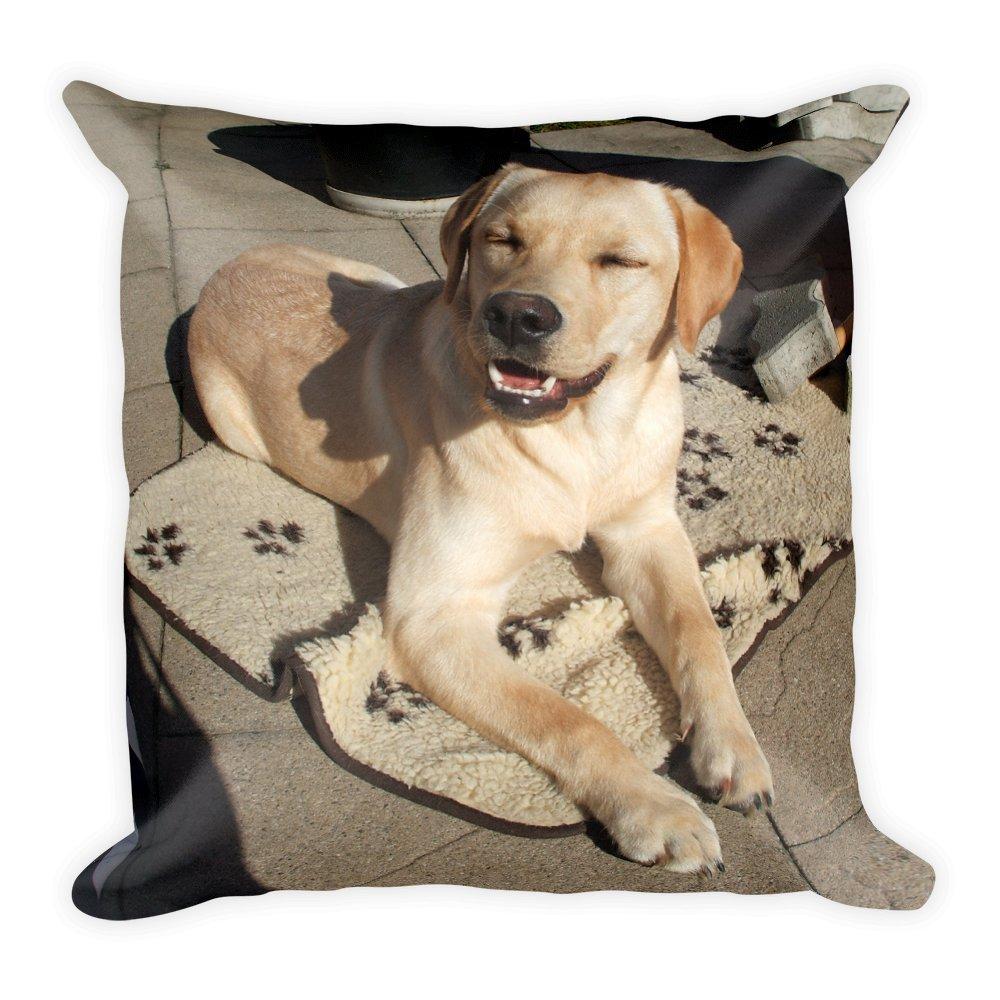 Gelber Labrador Sonnenbad, großes, flauschiges Kissen 45x45 cm, handmade in EU großes Purefire Designs