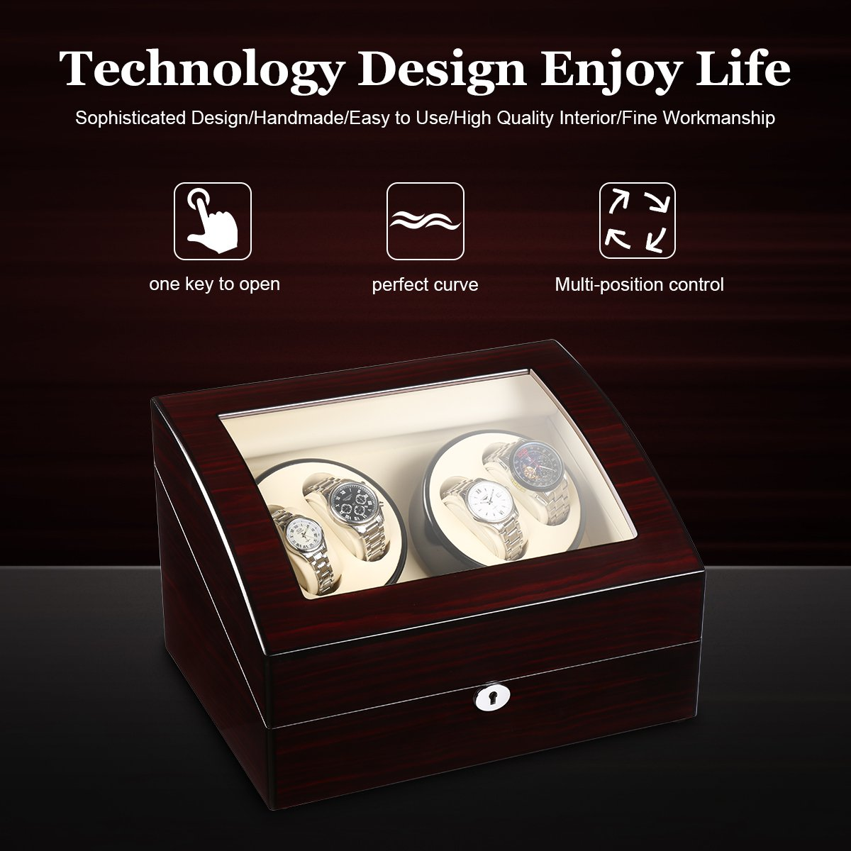CRITIRON 4+6 Automatic Watch Winder Luxury Storage Case Rotating Display Box, Wood Shell with Piano Paint (Brown+White) by CRITIRON (Image #6)