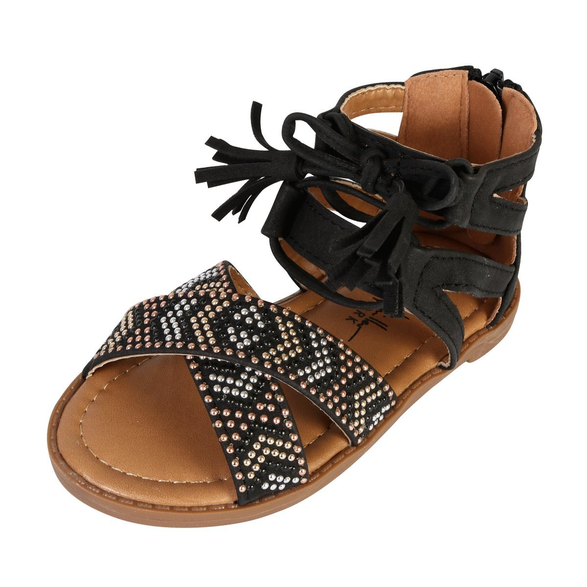 23aae89766e1 Adorable Open Toe Gladiator Strap Sandal Gold and Silver Metallic Studs  Adorn the Front Cross Straps Back Zip for Easy On and Off with Faux ...