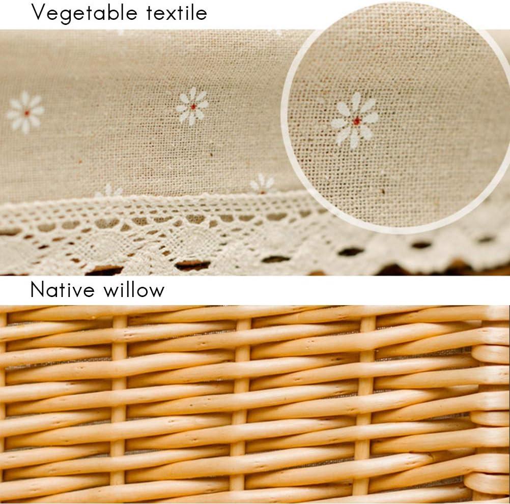 StyleBest Picknickkorb ovaler nat/ürlicher Weiden-Weiden-Picknick-Korb-Einkaufsspeicher-Korb mit Deckel und Holzgriff