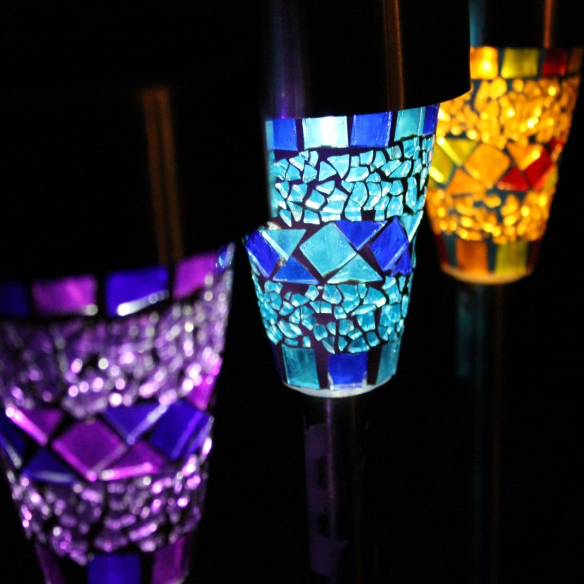 Direct Global Solar Mosaic Lights For The Garden With Plugs Pack Of 6 Amazon Co Uk Garden Outdoors