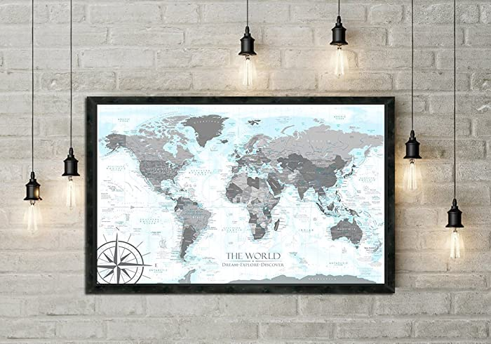 Amazon push pin world map in black and white with ocean push pin world map in black and white with ocean elevations details in light blues gumiabroncs Gallery