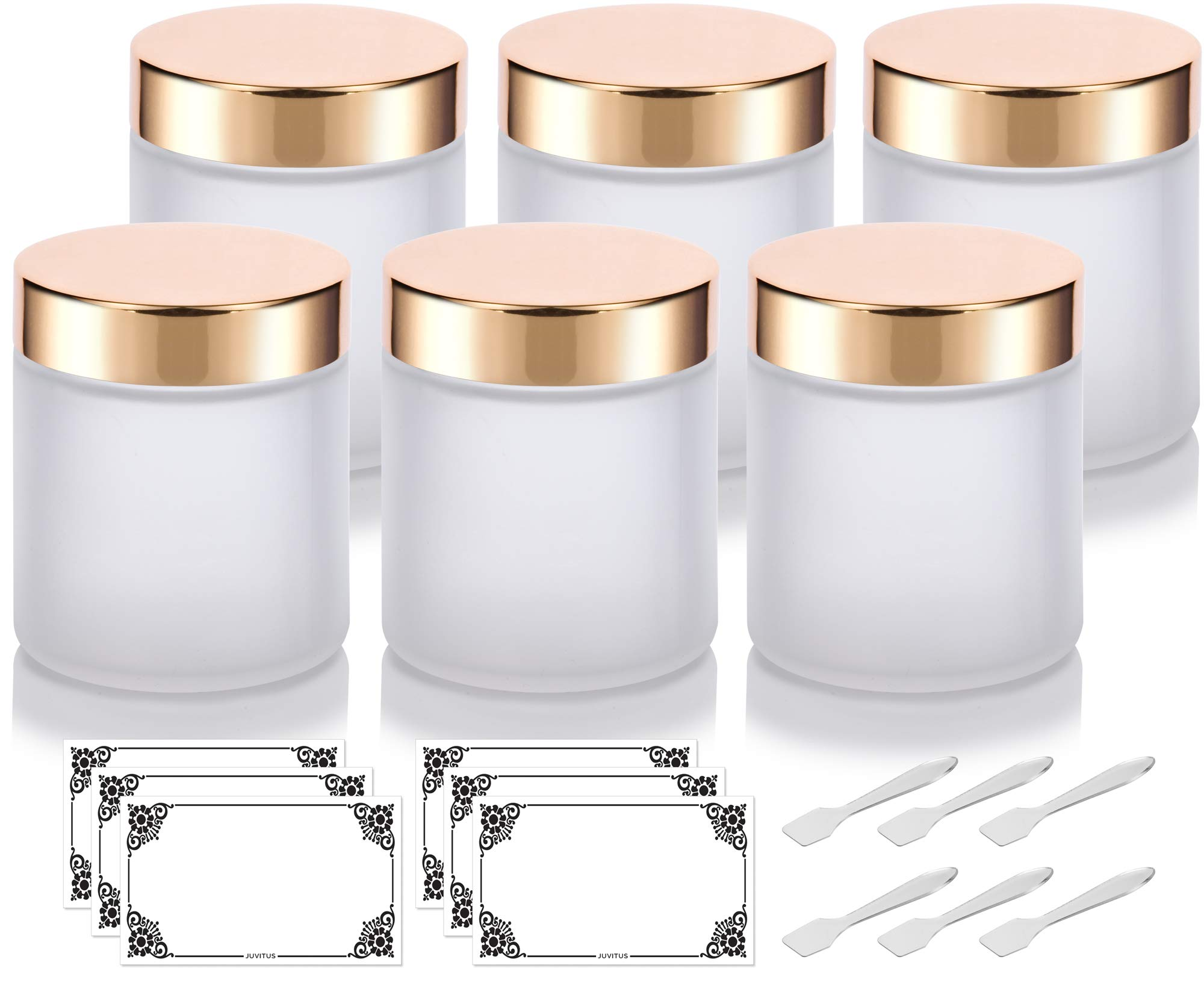 1f7fdfa4fa87 Amazon.com : Frosted Clear Thick Glass Straight Sided Jar with Gold ...