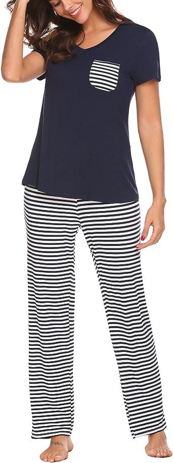 Unibelle Pijama de manga corta para mujer, con cuello en V, tallas S-XXL