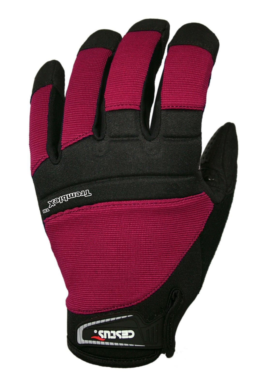 Cestus Vibration Series TrembleX Neoprene Polychloroprene Anti-Vibration Glove, Work, Large, Red (Pack of 1 Pair)