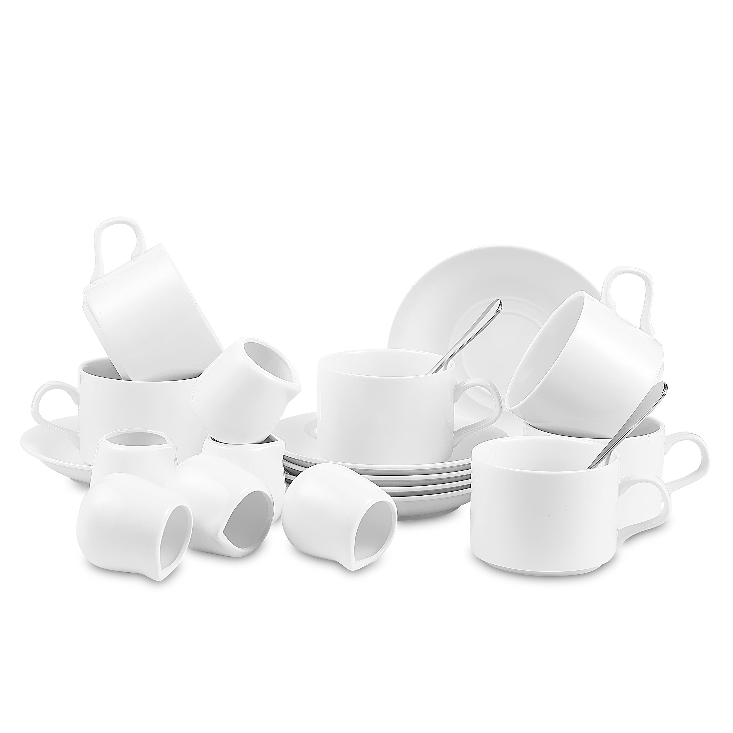 Nucookery White Coffee, Espresso & Tea Cup Saucer Set with Silver Metal Spoon, 6pc Serving Kit(1 Set)