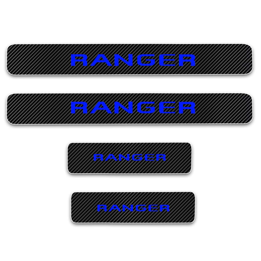 For RANGER 4D M Car Pedal Covers Door Sill Protectors Entry Guard Scuff Plate Trims Anti-Scratch Reflective Carbon Fiber Stickers Auto Accessories Exterior Styling 4Pcs Blue