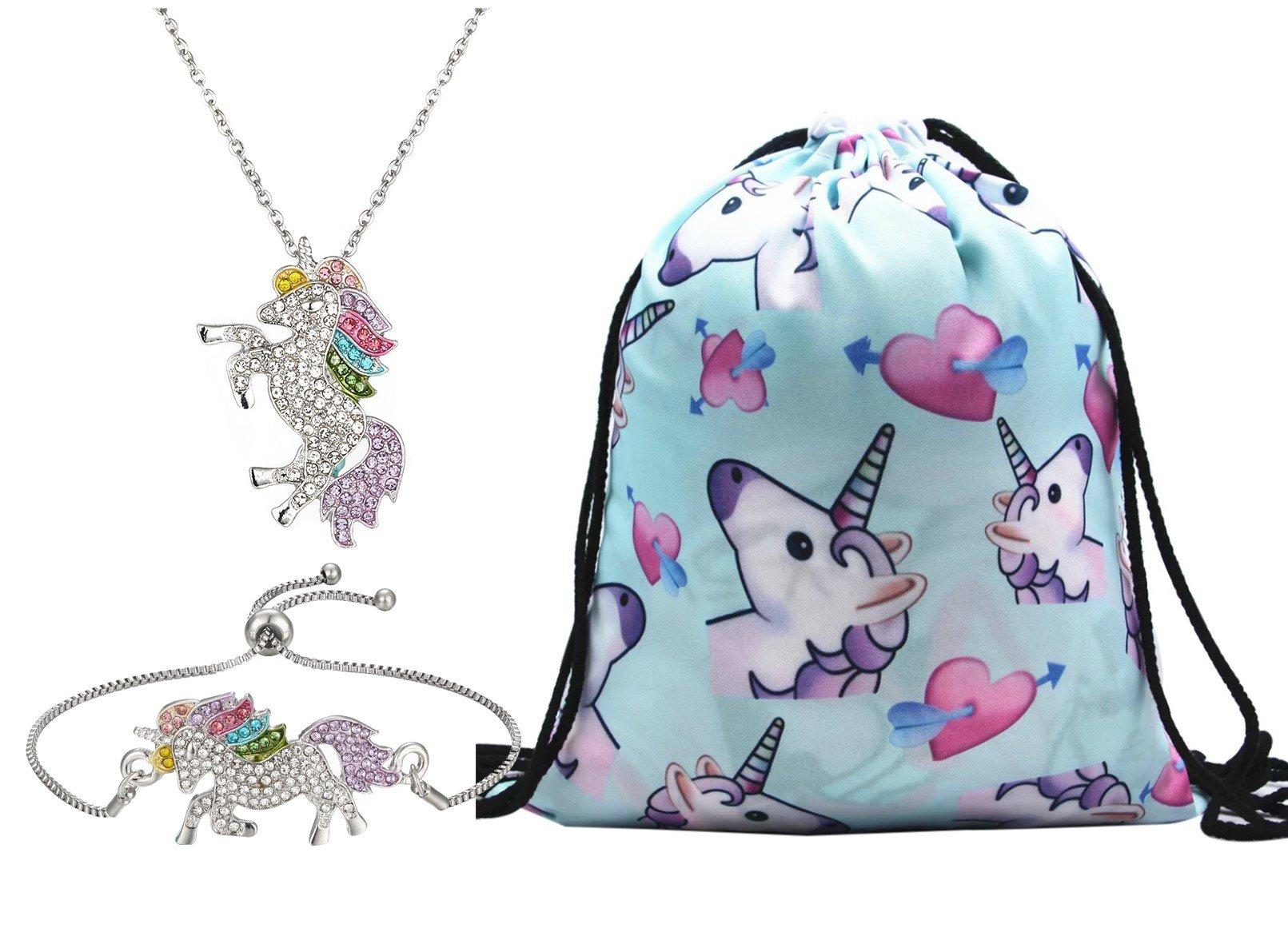 Unicorn Gifts for Girls 3 Pack - Unicorn Drawstring Backpack/Necklace/Bracelet (Blue)