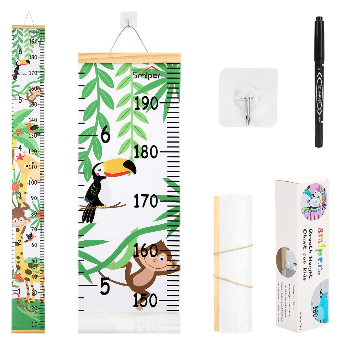 Smlper Growth Chart for Kids,Roll-up Height Chart for Boys Girls,Wood Frame Fabric Canvas Height Measurement Ruler for Kids Nursery Room,Removable Wall Decor 79x7.9