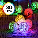 DecorNova 30-LED Battery-Powered Rattan Ball Light String