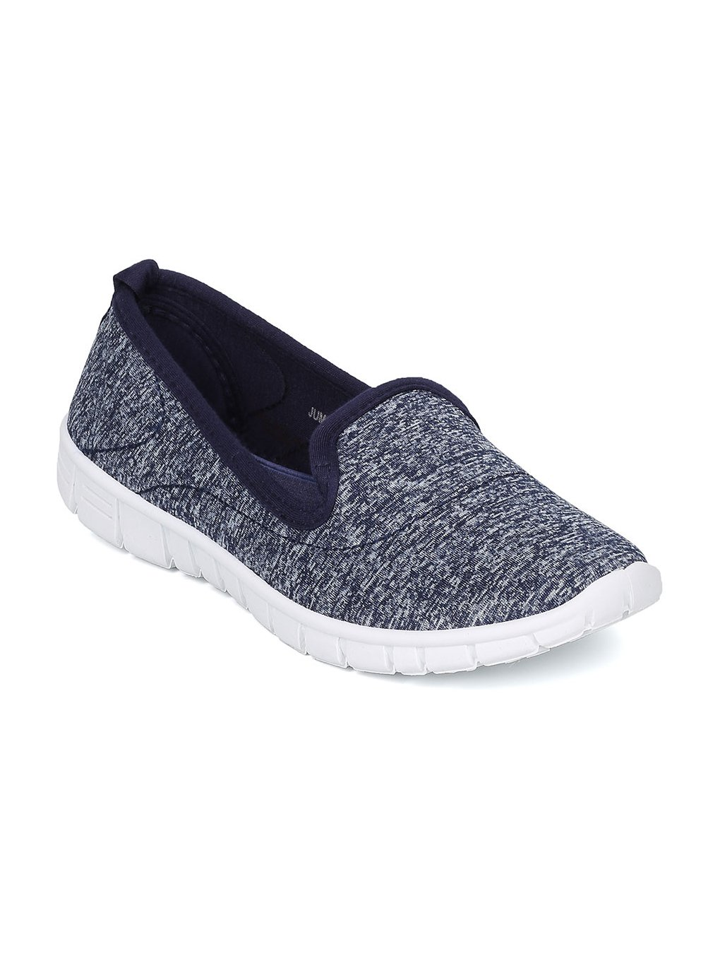 Alrisco Fabric Heathered Slip On Cushioned Memory Foam Padding Walking Sneaker HA54 - Navy (Size: 6.5)