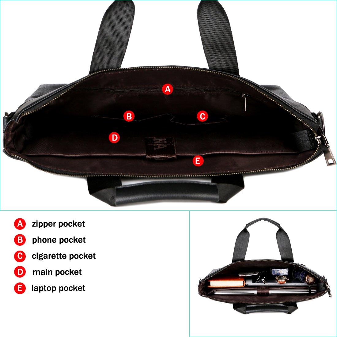 VICUNA POLO Men Briefcase Bag Business Bag Leather Laptop Bag Man Bag Handbag (black for 15.6inch) by VICUNA POLO (Image #4)