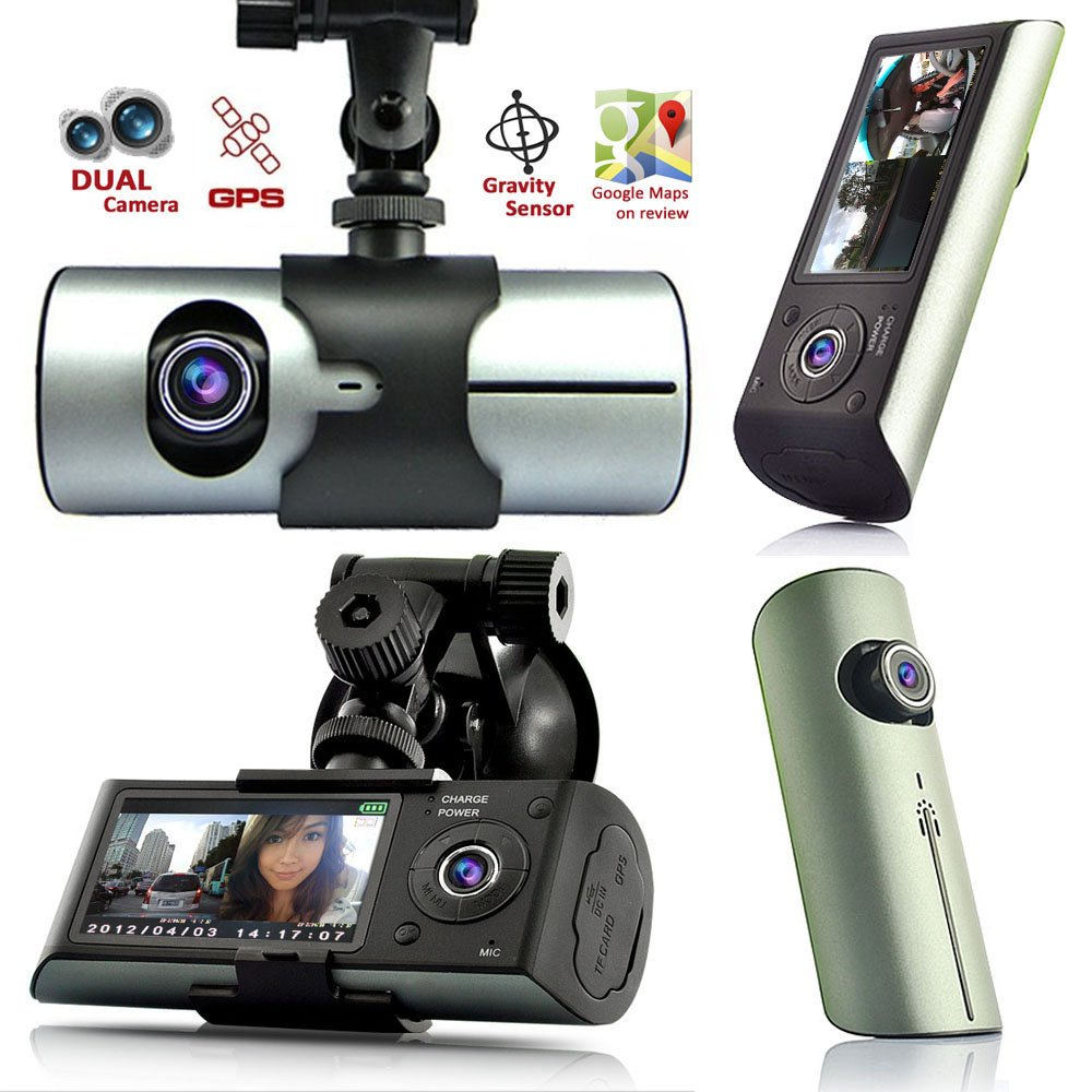 Indigi® GPS Tracker Dash-Cam Dual Camera Driving Recorder Front+Rear Support Google Map CarDVR-XR300-CE05