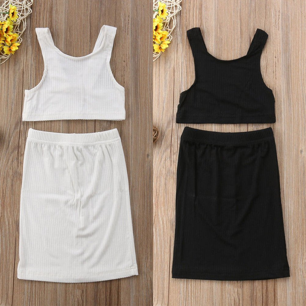 Infant Toddler Baby Girl Sleeveless Halter Crop Top Vest Tight Skirt Summer Casual Outfit