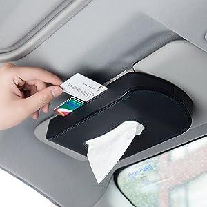 Mr.Ho Black Leather Car Visor Tissue Holder Mount, Hanging Tissue Holder Case for Car Seat Back, Multi-use Paper Towel Cover Case With One Tissue Refill for Car & Truck Decoration